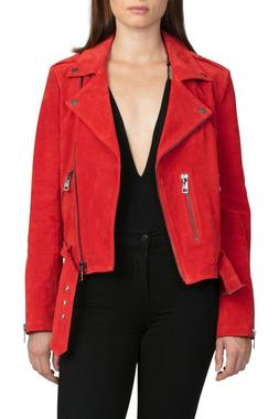 Womens Red Leather Jacket Slim Fit Biker Motorcycle Pure Sue