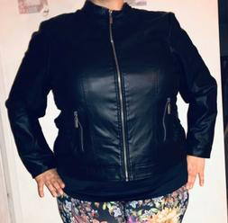 Womens NEW LOOK Soft Faux Leather Black Motorcycle Biker Jac