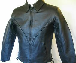 WOMENS XS BLACK LEATHER FASHION MOTORCYCLE JACKET CLOSEOUT R