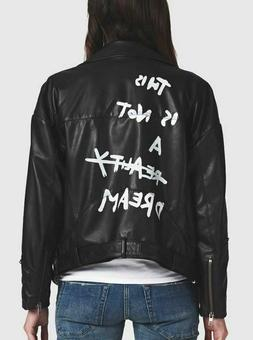 One Teaspoon XS Leather Moto Jacket This is Not A Dream Blac