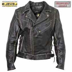 Xelement XS1978 Women's Antique-Brown Rub-Off Motorcycle Jac